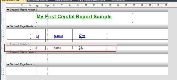 Crystal Report Page Details