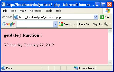Php date function in Australia