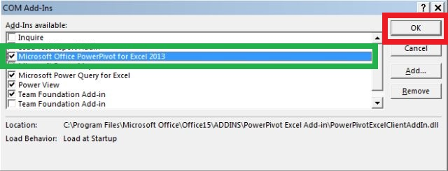 powerpivot enable
