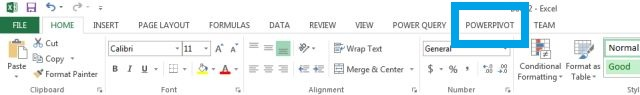 powerpivot ribbon tab