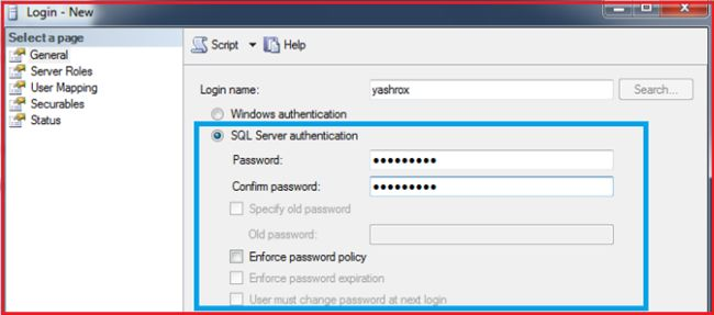 Choosing SQL Server Authentication