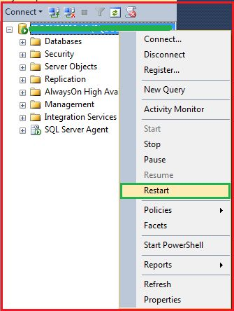 Restarting SQL Server after Enabling Mixed Mode Authentication