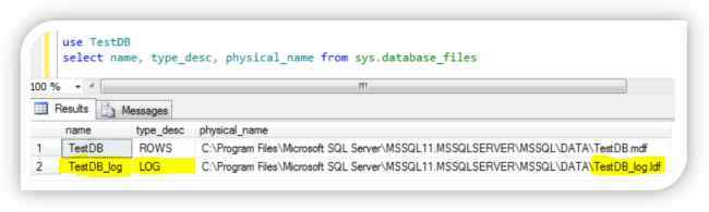 Get name and location of transaction log files