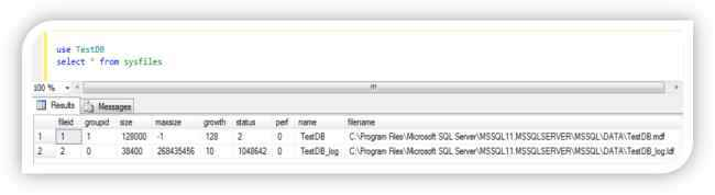 Showing output from sysfiles