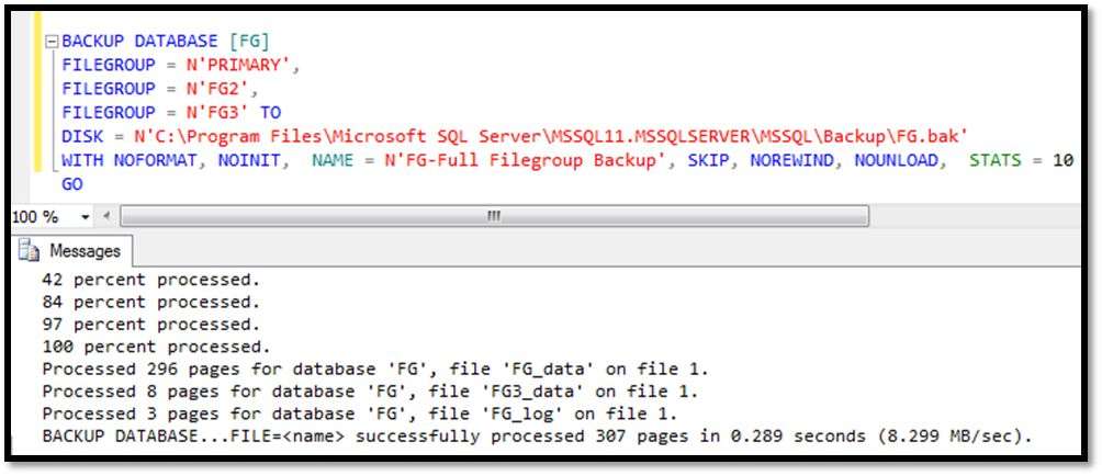 Taking filegroups backup with t-sql