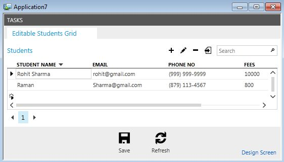 output showing editable grid screen
