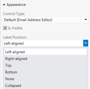Properties window for setting Label Position