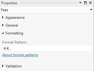 Format Pattern property window using hash and comma