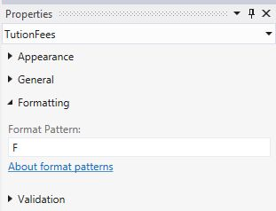 F Format pattern in Property Window