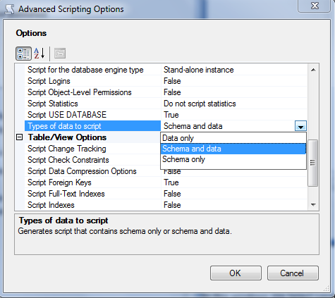 how to create script of database in sql server 2008