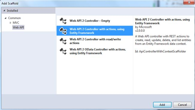 Add Web API2 Entity framework