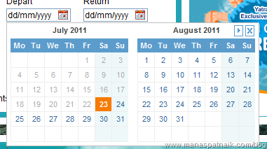 Month view date picker in silverlight