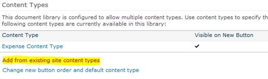 Add from existing site content types
