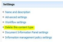 Delete the existing content type