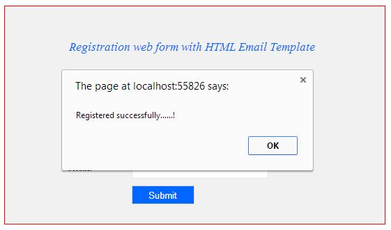 Sample Registration Page And Email Confirmation In AspNet