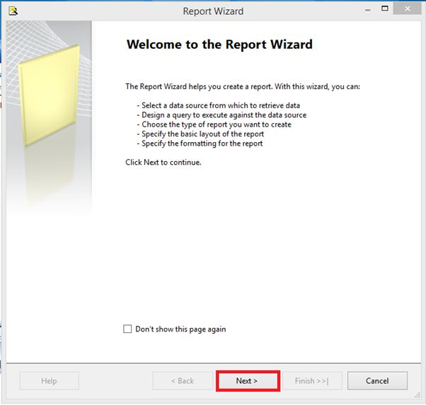 Report Wizard page
