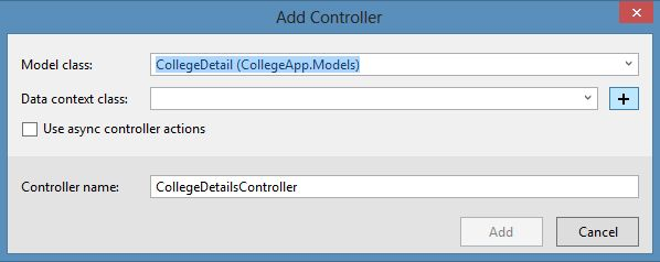 Adding Model Class in Add Controller Wizard