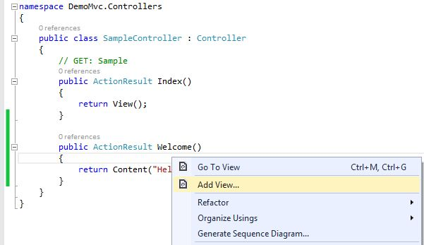 Adding View of Controller in MVC