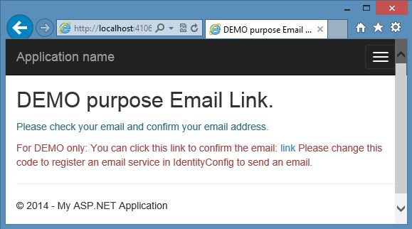 Emial Link Confirmation in Identity Sample