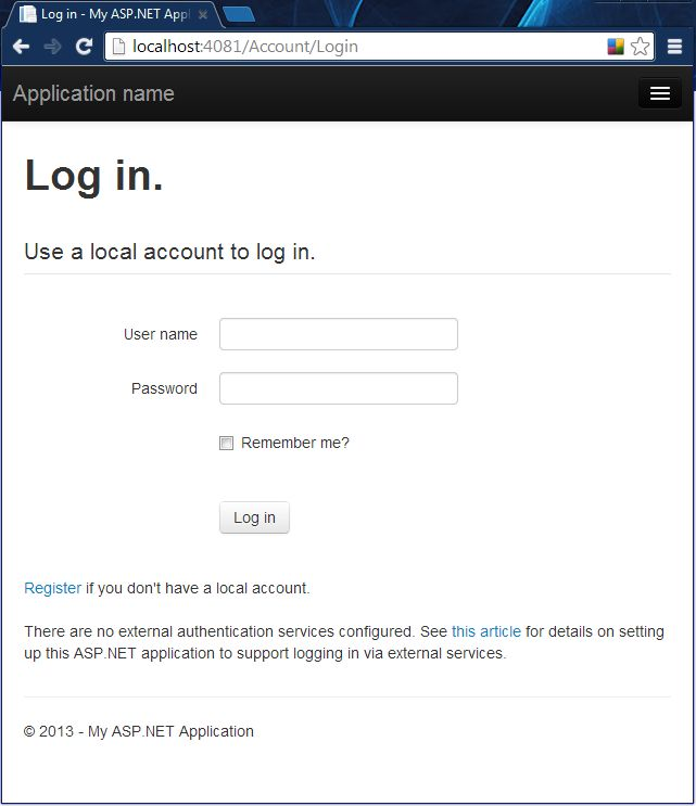How to configure mvc 5 app login options for Asp net login page template