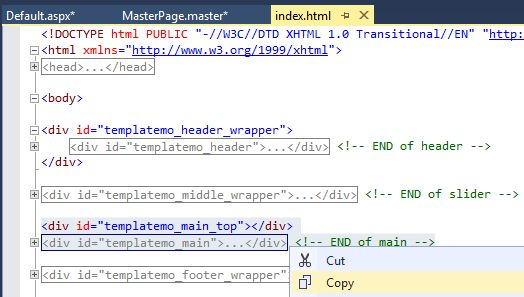 How to create asp website with css template main content of template maxwellsz