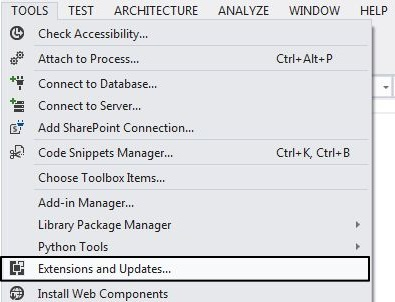 Extentions and Update in VS 2012