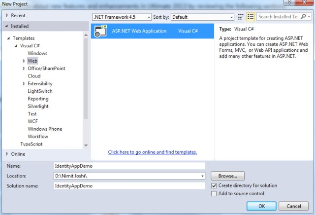 Create Project in VS 2013