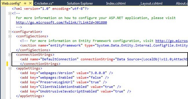 Working With Model Class and Connection String in MVC 5