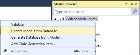 Update Model from Database
