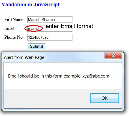 Validating email address using javascript
