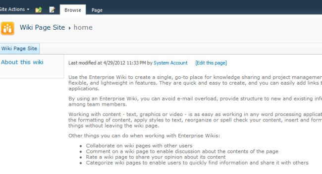 how to build a wiki page in sharepoint 2010