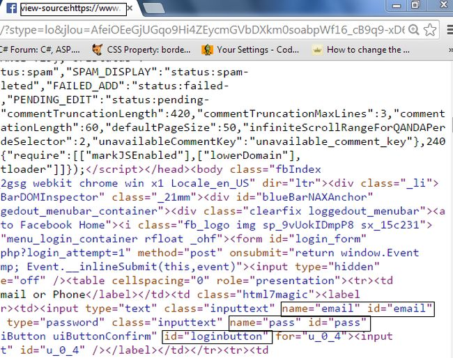 facebook log in page code