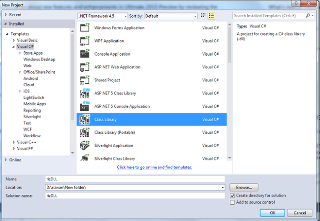 Creating a library using visual studio 2015 select c select class library then name it as you want save it at an appropriate place so from the browse button you can select the appropriate ccuart Image collections