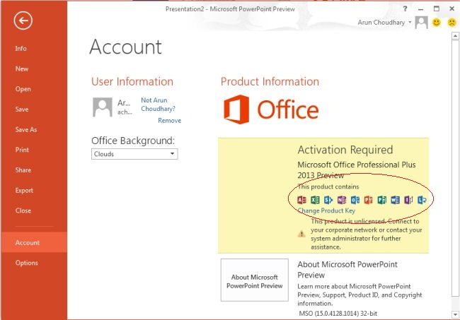 powerpoint 2013 change product key