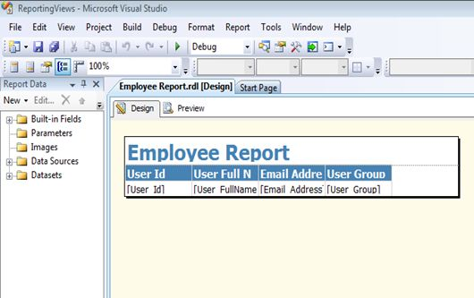 Design tab to-make the report