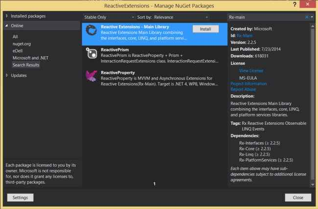install Rx extension from nuget