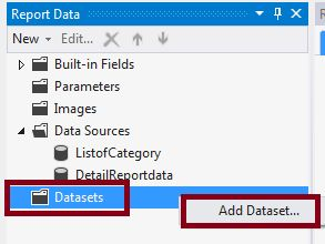 create Dataset in SSRS report