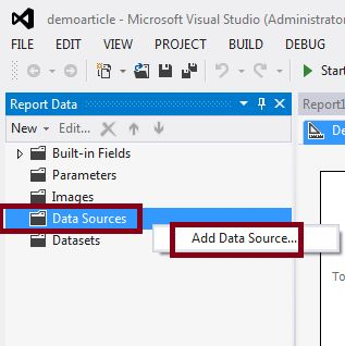 create data source in SSRS report
