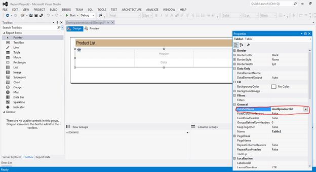 table control in SSRS