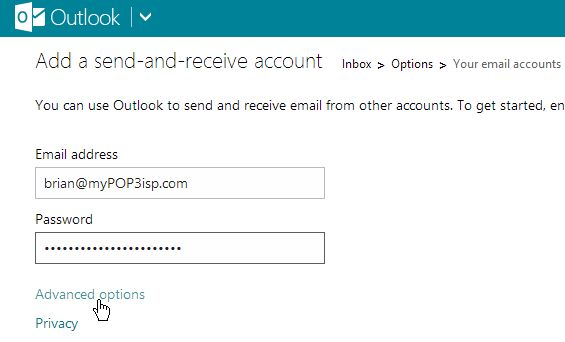 how to create a pop account using outlook in office365