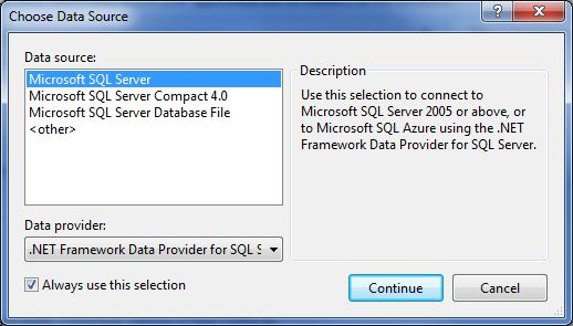Entity Data Model Wizard - Choose Data Source dialog box