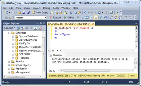 Showing SQL CLR enabled