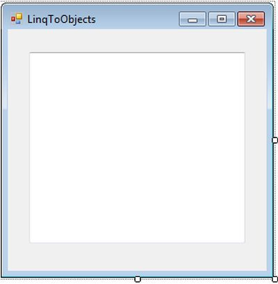 Design view of LinqToObjects form