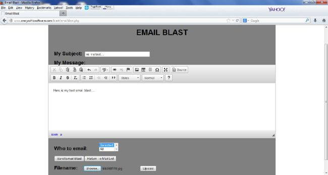 compose the email blast message