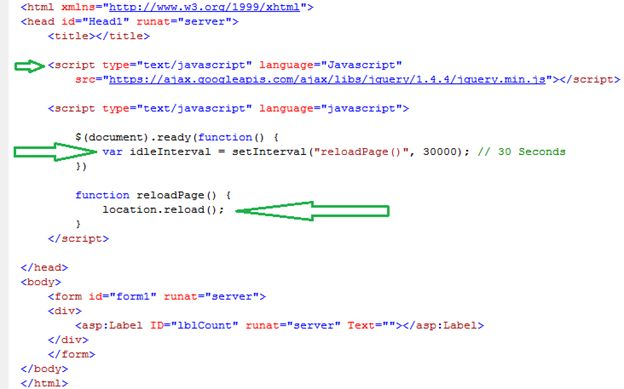 JQuery code for reload page