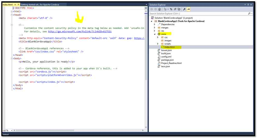 mobile application with html code