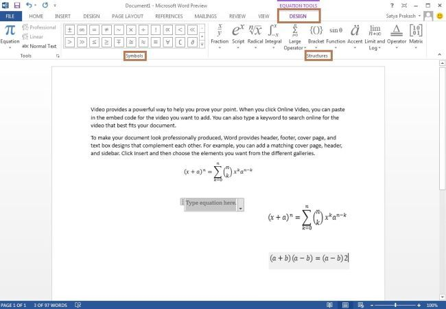 Insert Math Equations In Word 2013