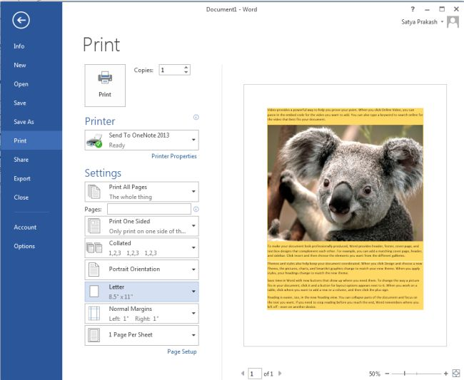Print Background Colors And Images In Word 2013
