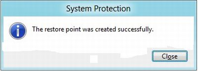how to create restore point in windows 8