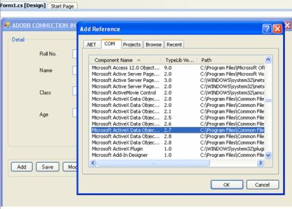 ADODB Connection In NET Application Using C